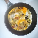 新玉ねぎと茄子の半熟卵とじ