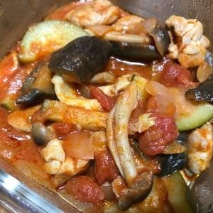 フライパンで簡単!鶏肉と野菜のトマト缶煮込み