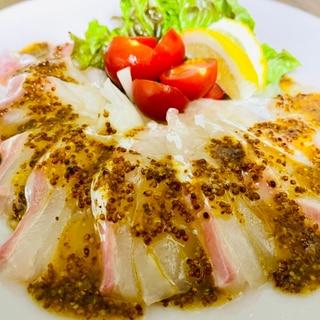 塩じめ真鯛のカルパッチョ♪醤油マスタードソース
