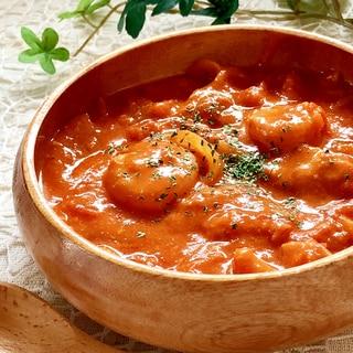 濃厚♡海老とチーズのトマトクリーム煮