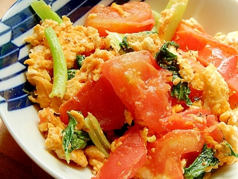 簡単!中華味❤トマト&小松菜の炒め物♪(ゴマ油)