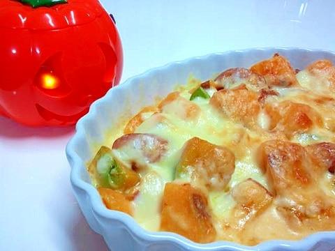 秋ですね*安納芋とかぼちゃのお手軽グラタン