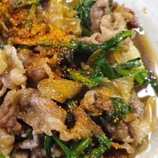 牛バラ肉と春菊のすき煮