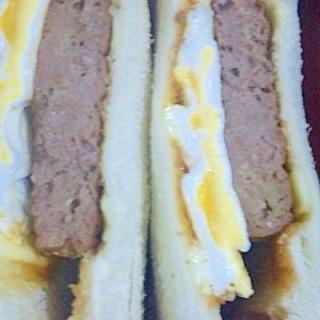 簡単!ハンバーグエッグサンドイッチ