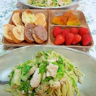 塩鶏とキャベツのバジルソーススパゲティ