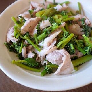 ウドの葉と豚肉の油炒め