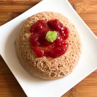 電子レンジで低糖質な苺おから蒸しケーキ
