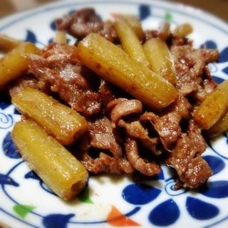 フキと牛肉の甘辛炒め★ すき焼きのタレで簡単♪