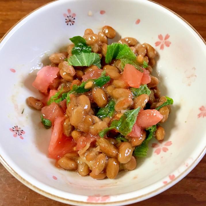 トマトと大葉の納豆