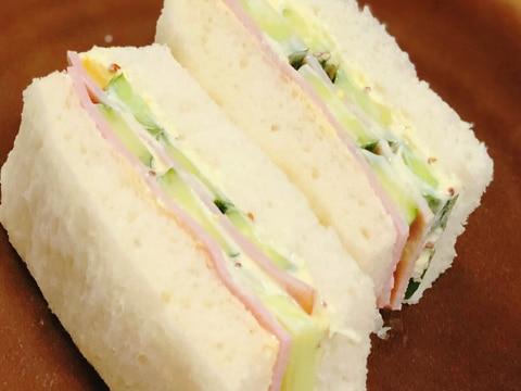 ハムときゅうりのサンドイッチ✽シンプルに定番サンド