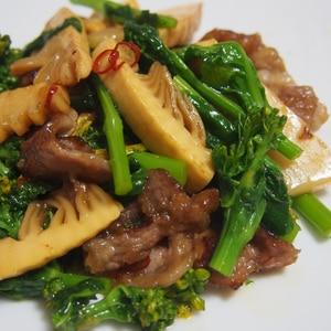 菜の花と筍の炒め物