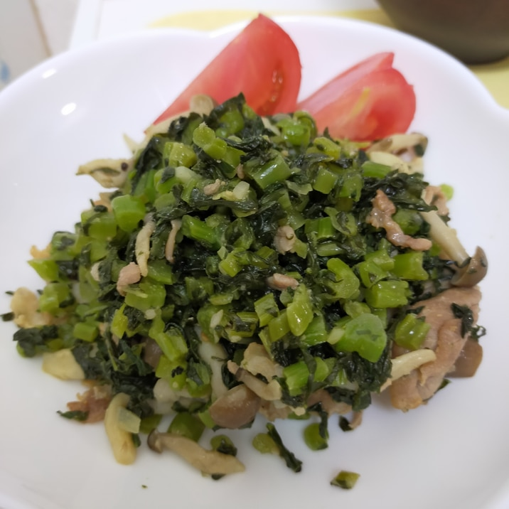 塩漬け大根菜と豚肉の炒めもん