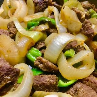牛肉と新玉の甘辛炒め