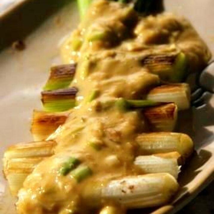 葱が沢山食べれる焼き葱味噌マヨがけ
