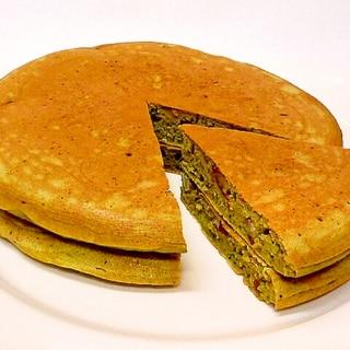 栗の渋皮煮入り♪ 抹茶きな粉ホットケーキ
