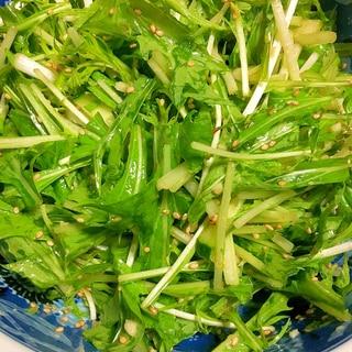超簡単!ごま油香る♪水菜とキュウリのサラダ