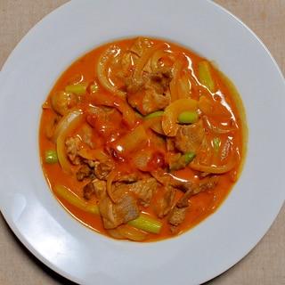 豚肉とアスパラのトマトクリーム煮