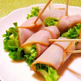 ハム巻きサラダ(きゅうりとレタスのハム巻き)