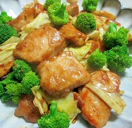 鶏むね肉とキャベツのカレーマヨ炒め
