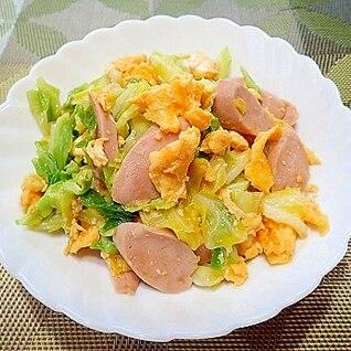キャベツと魚肉ソーセージのオイスター炒め