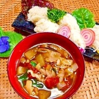 素麺☆茄子とトマトの麺つゆ