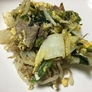 牛肉と白菜の玉子とじ