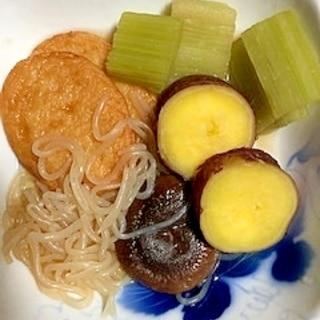 蕗、しらたき、椎茸、さつま揚げ、さつま芋の煮物
