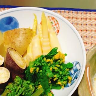 すすたけ、山菜とお芋のバーニャカウダ