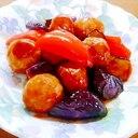 肉団子とパプリカと茄子の酢豚風