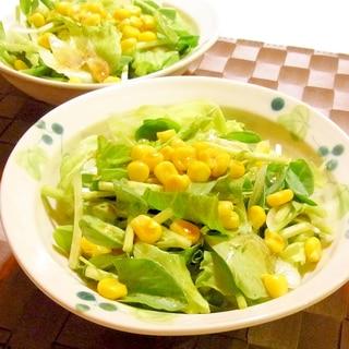 そらまめ豆苗とコーンのサラダ