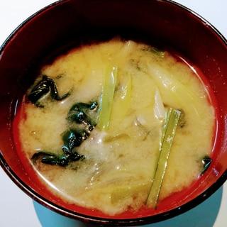 小松菜とネギの味噌汁