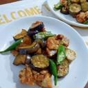 豚こま肉と夏野菜のオイスター炒め