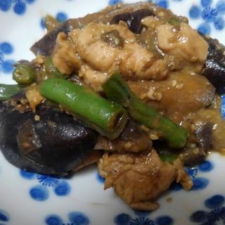 鶏肉となすの味噌炒め煮