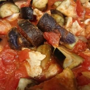 ヘルシー簡単!ササミとナスのトマト煮