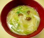 きのこと豆苗の味噌汁