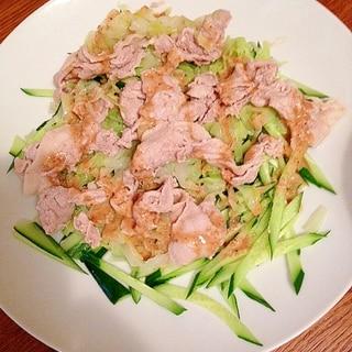 夏バテに!野菜と豚しゃぶの胡麻ドレサラダ