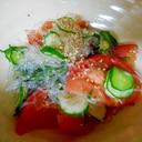 海藻めんとトマトの甘酢和え