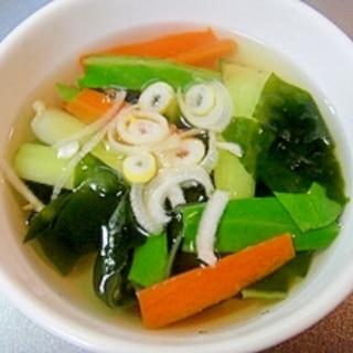 チンゲン菜とワカメの和風スープ