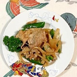 豚肩ロース、ピーマン、玉葱の炒め物
