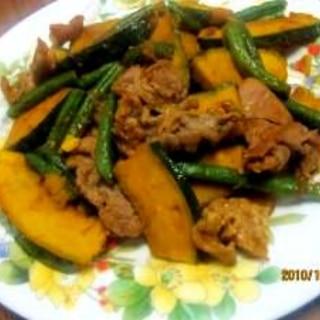 かぼちゃ・豚肉・いんげんの中華炒め (我が家の味)