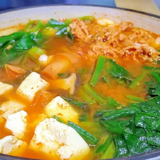 本場の味!小松菜たっぷりキムチチゲ❤