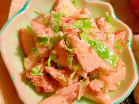 生姜佃煮と林檎と水菜の胡桃マヨ和え