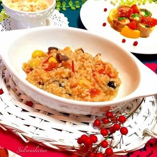 簡単リゾット♪豆キノコのトマトリゾット