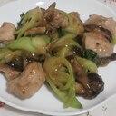 豚肉チンゲンサイ椎茸の簡単ニンニク味噌炒め