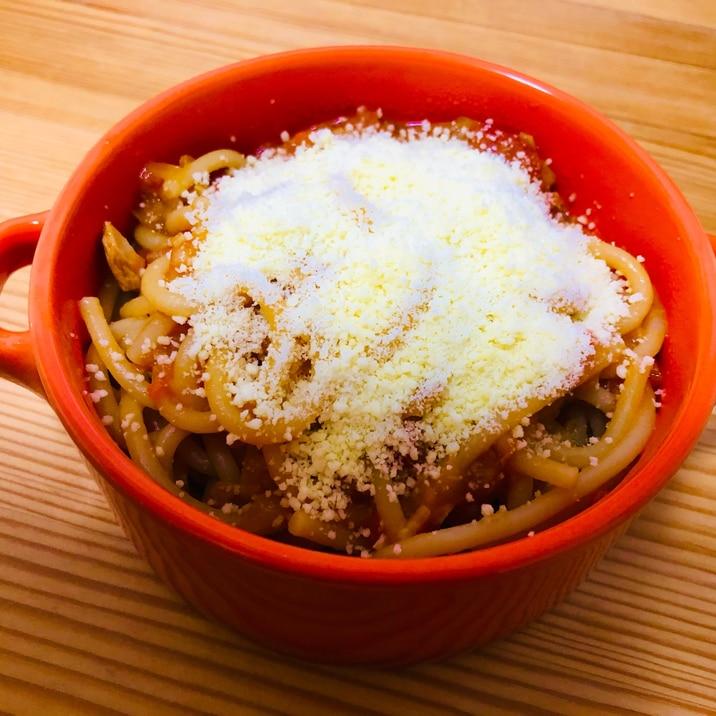 粉チーズだらけ☆ツナトマトスパゲティ