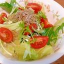 水菜とレタスのじゃこサラダ