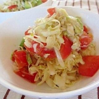 アボカドとトマトとキャベツのノンオイルサラダ