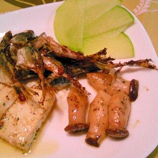 豆鯵、エリンギ・木綿豆腐のアヒージョ風