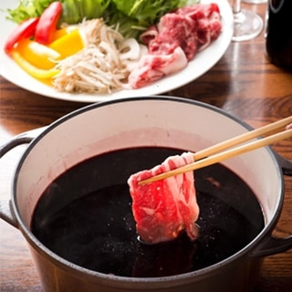 ワイン鍋の牛しゃぶしゃぶ