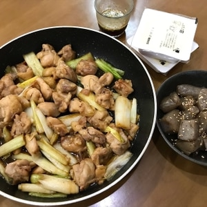 鶏肉と長ネギの焼き鳥風